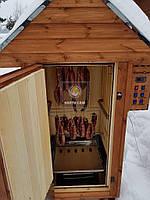 Коптильня 1300 л -холодного и горячего копчения, +просушка. Ольха  внутри, крыша домиком