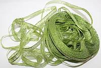 Лента люрекс(парча). Цвет - весенняя зелень. Ширина - 0,7 см, длина 23 м, нетоварный вид