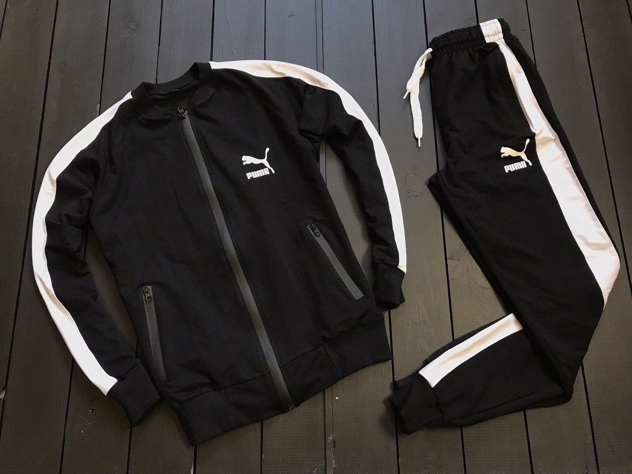 e5cabffe0209 Мужской спортивный костюм пума/Puma с лампасами/полосками без  капюшона/бомбер, реплика