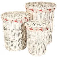 """Набор корзин для белья """"Фламинго"""", 3 шт, лоза, 45x45x58 см"""