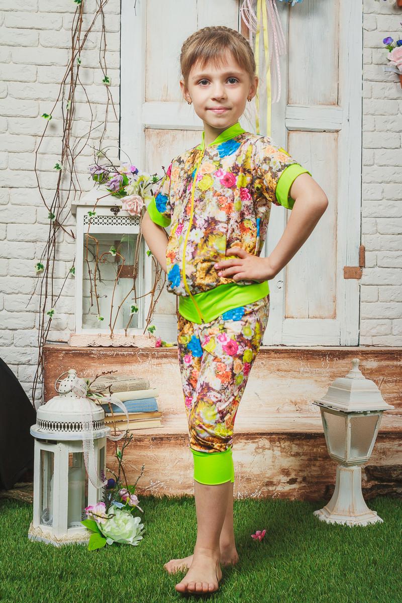 Костюм для девочки летний желтый