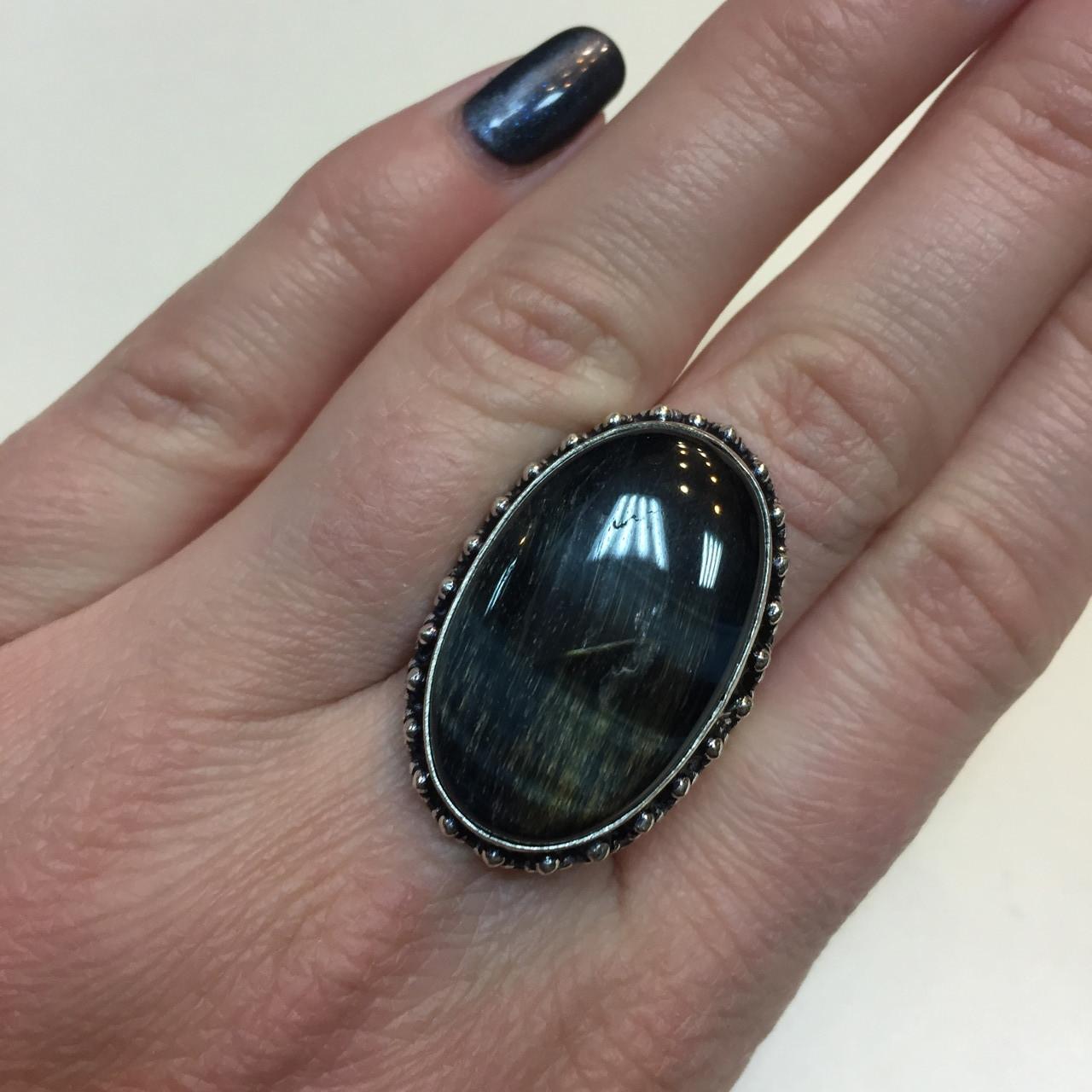 Питерсит соколиный глаз кольцо овальное натуральный питерсит в серебре 20 размер Индия