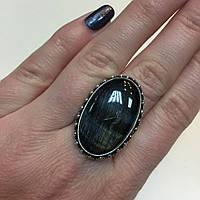 Питерсит соколиный глаз кольцо овальное натуральный питерсит в серебре 20 размер Индия, фото 1