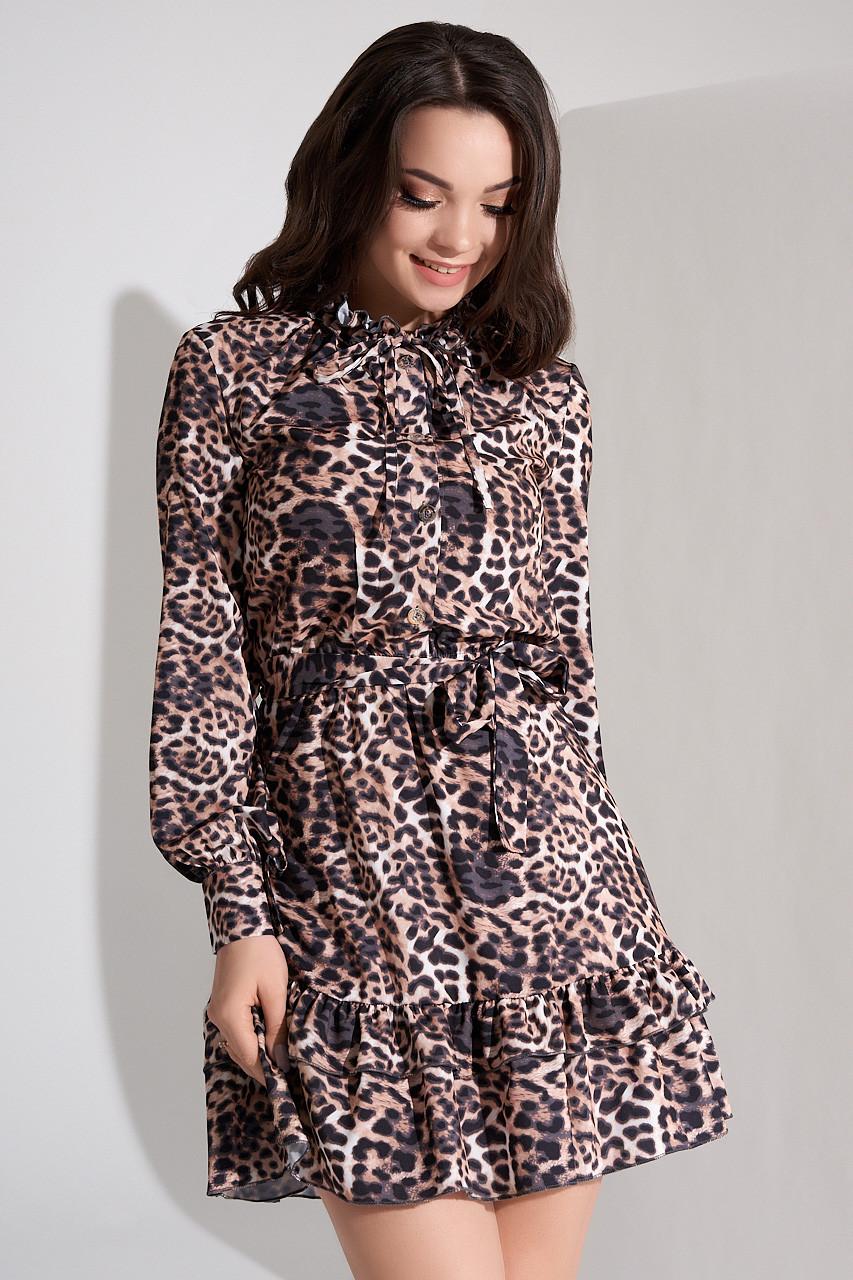 35094e33223 Купить Короткое платье с леопардовым принтом. Модель 21312. Размеры ...