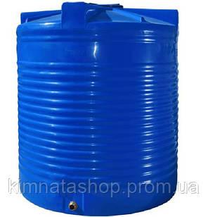 Ємність для води 7500 л вертикальна двошарова пластикова синя
