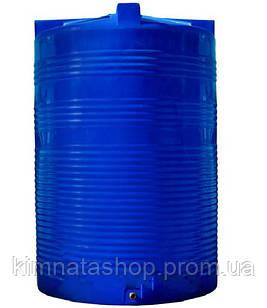 Ємність для води 10000 л вертикальна двошарова пластикова синя