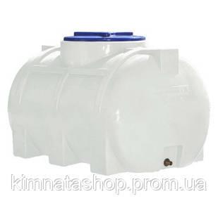 Ємність для води на 250 л горизонтальна одношарова (93х62х64см) пластикова біла
