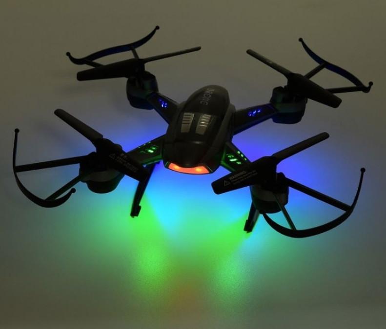 Радиоуправляемый вадрокоптер 2,4 gz Led 4 винта Drone серый 6056