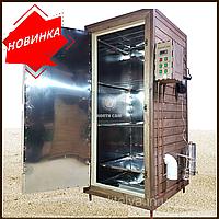 Коптильня 1300л -холодного и горячего копчения, +просушка. Нержавейка внутри, крыша плоская