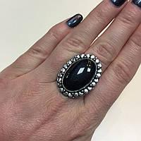 Питерсит соколиный глаз кольцо овальное с натуральным питерситом в серебре 19,5-19,7 размер Индия