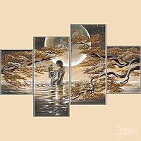 Схема для вышивки бисером Полиптих из четырех частей Лунный свет