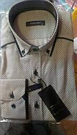 Элегантная Мужская рубашка c воротником на пуговицах приталенная с длинным рукавом DERGI