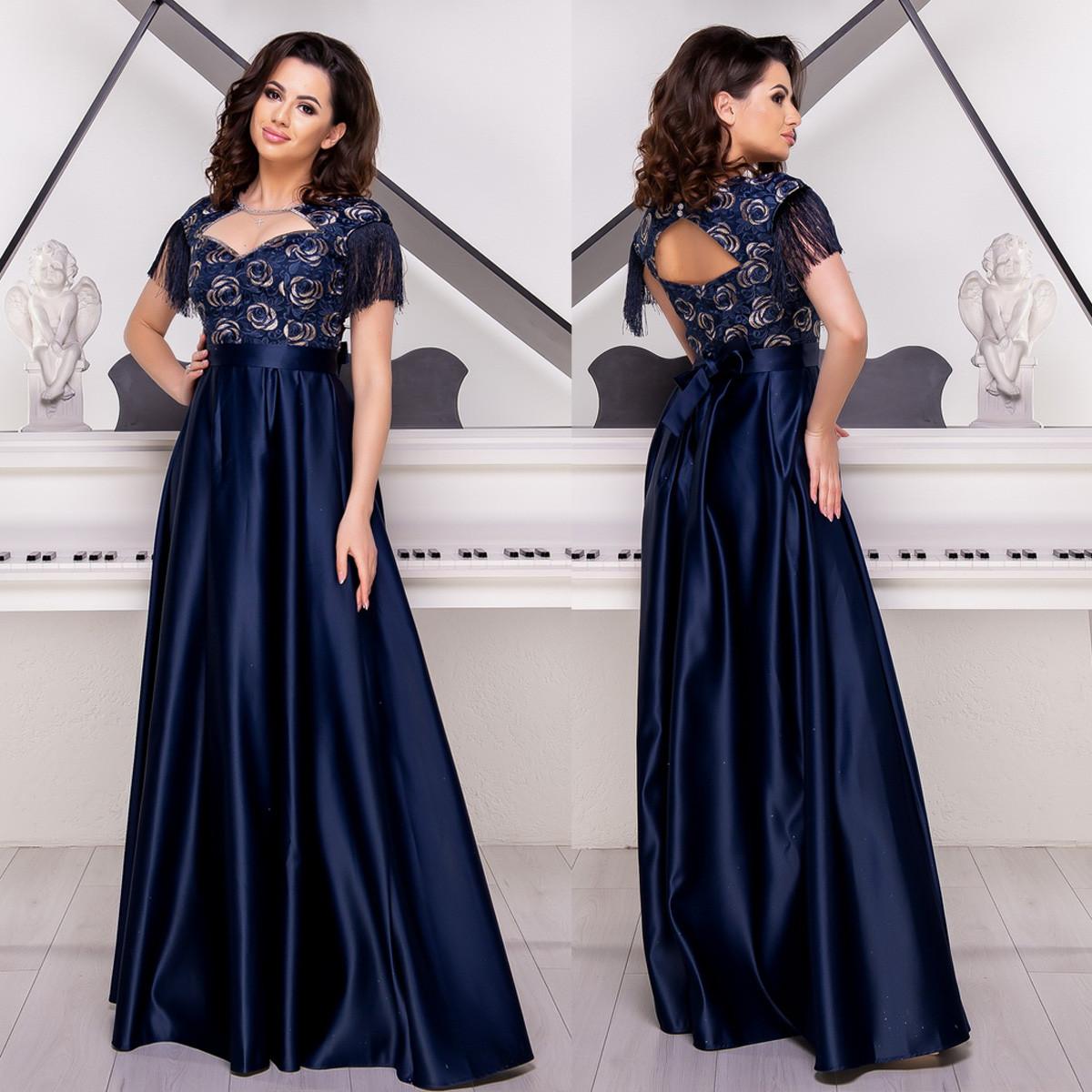 """Шикарное атласное вечернее синее платье в пол """"Люксио"""""""