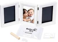 Тройная рамочка для фото и слепков Baby Art Double Print Frame white&black