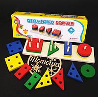 Деревянная игрушка пирамидка сортер - логика геометрические фигуры (геометрик, логіка) MD0715