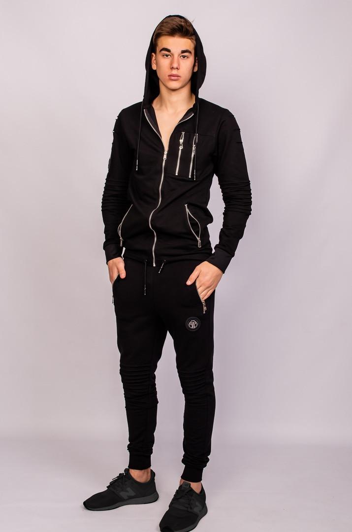 3e9e2923f25c Легкий мужской весенний/осенний черный спортивный костюм с молниями филипп  плейн (PHILIPP PLEIN)