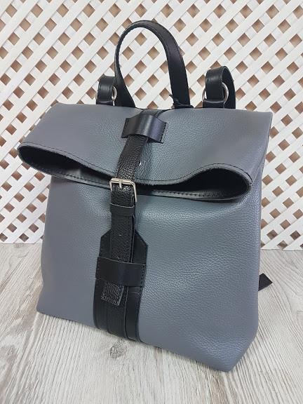 "Рюкзак-сумка ""Бонд"" натуральная кожа, серый флотар"
