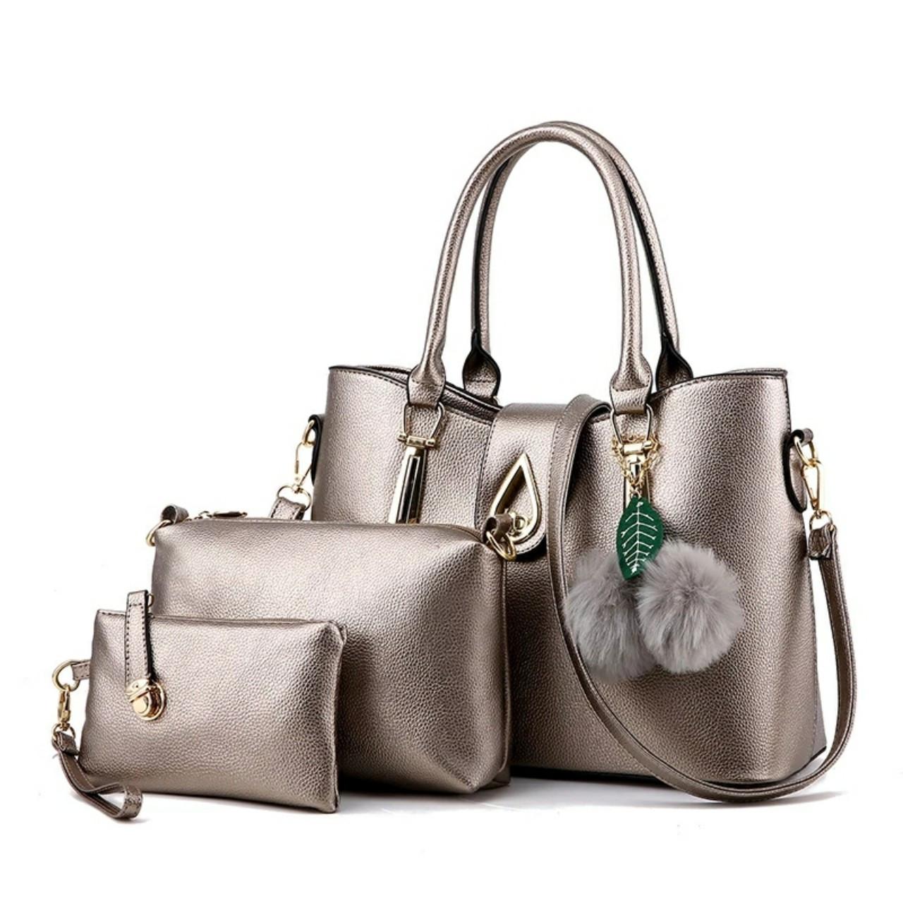 Набор сумок 3в1 Modern: сумка, клатч, косметичка бронзовый