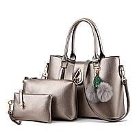 Набор сумок 3в1 Modern: сумка, клатч, косметичка бронзовый, фото 1