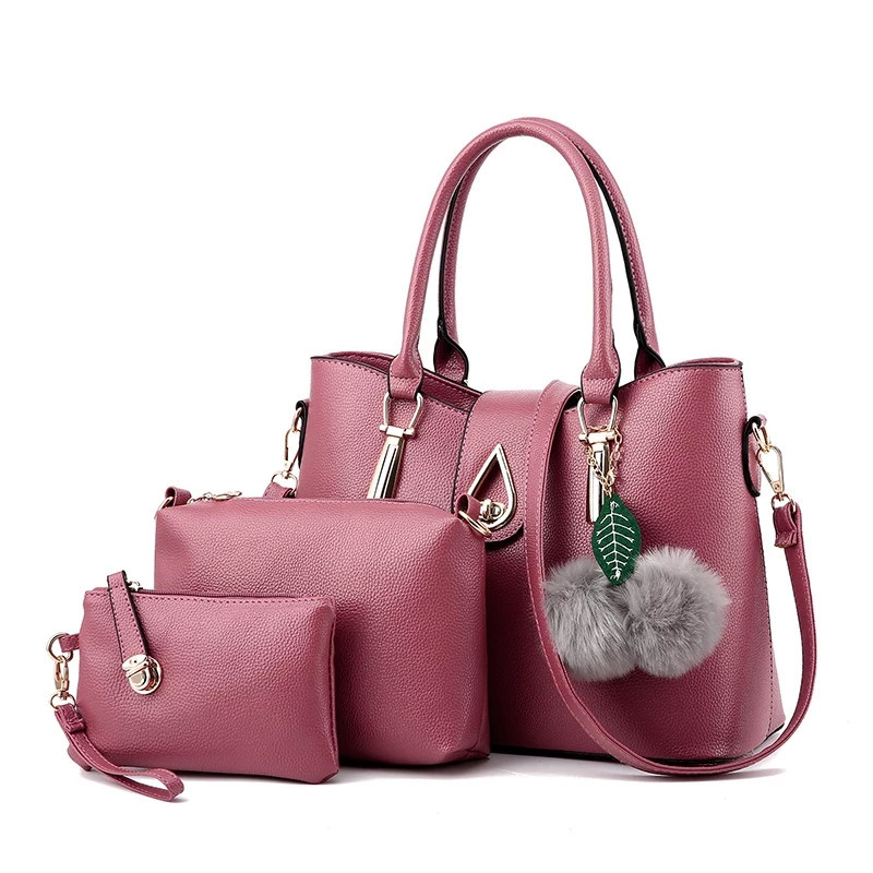 862438d641f3 Набор сумок 3в1 Modern: сумка, клатч, косметичка розовый (пудра) -  PrettyLady