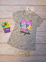 Футболка на девочку с пайетками Сердце и буквы 122-128см паетки