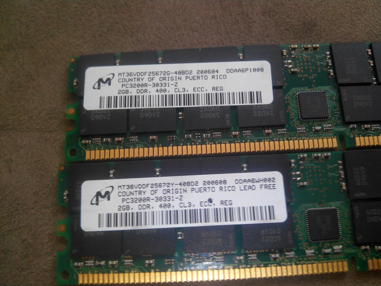 Память 2GB Micron PC3200 (400Mhz) MT36VDDF25672Y-40BD2. ECC б/у
