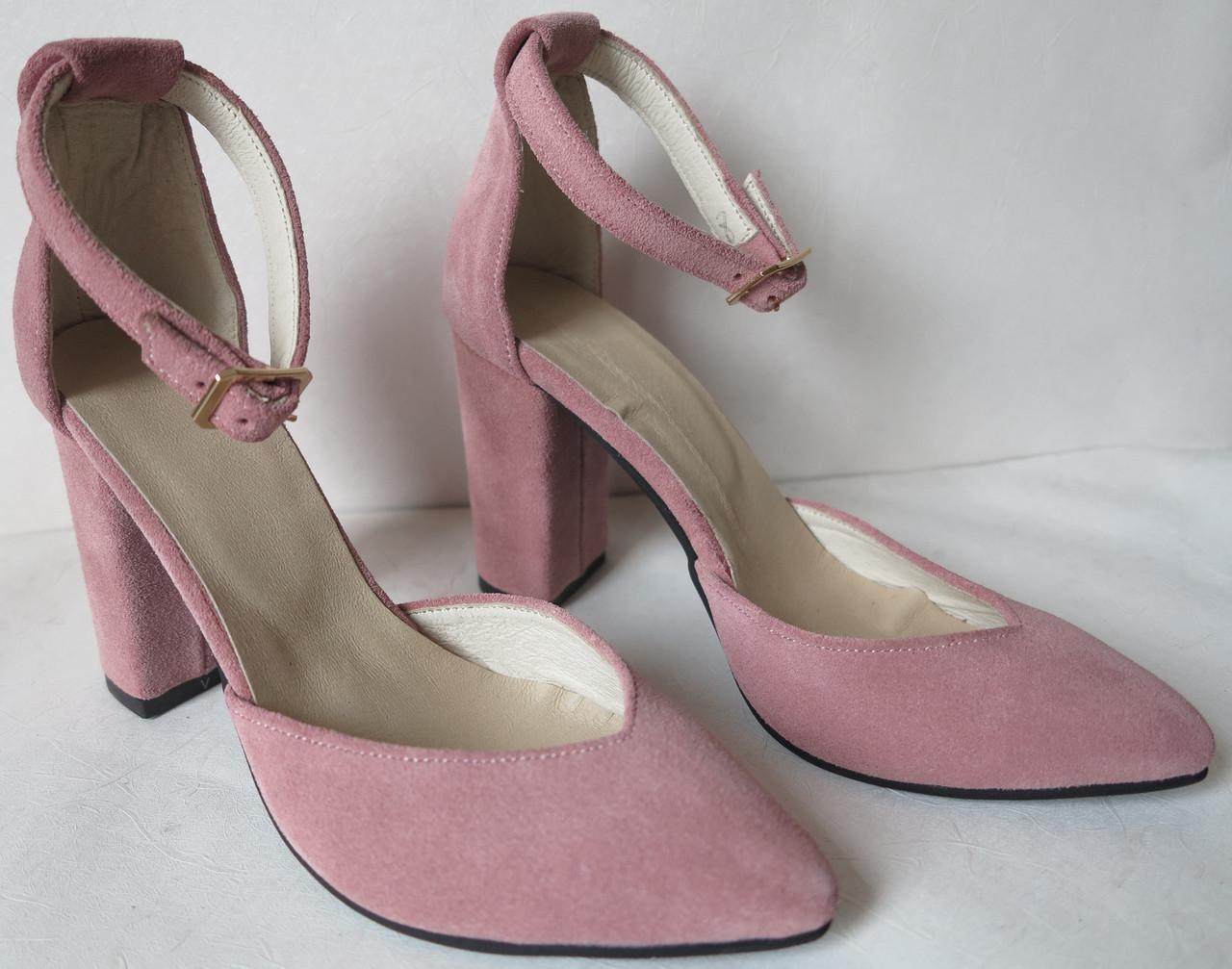35 р. Туфли женские розовые пудра замшевые на каблуке с ремешком, из натуральной замши, натуральная замша
