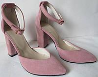 35 р. Туфли женские розовые пудра замшевые на каблуке с ремешком, из натуральной замши, натуральная замша, фото 1