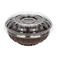 Контейнер пластиковый для салатов IT-750, 780мл, d-16,2см. h-8,2см. коричневый.