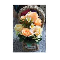 Декор T15-47 (36шт) цветы, розы, 31см, в корзинке, 3 цвета, в кор-ке, 14,5-32,5-14,5см