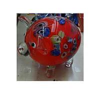 Фигурка 17-69 (12шт) свинка, 16см, стекло, 3 цвета, в кор-ке, 20-16-13,5см