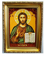 Икона с янтаря Господь Вседержитель 30*40 см