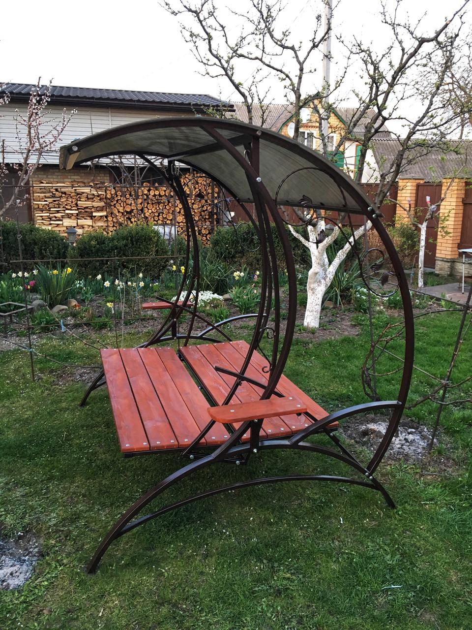 Качеля садовая металлическая кованая с раскладным диваном