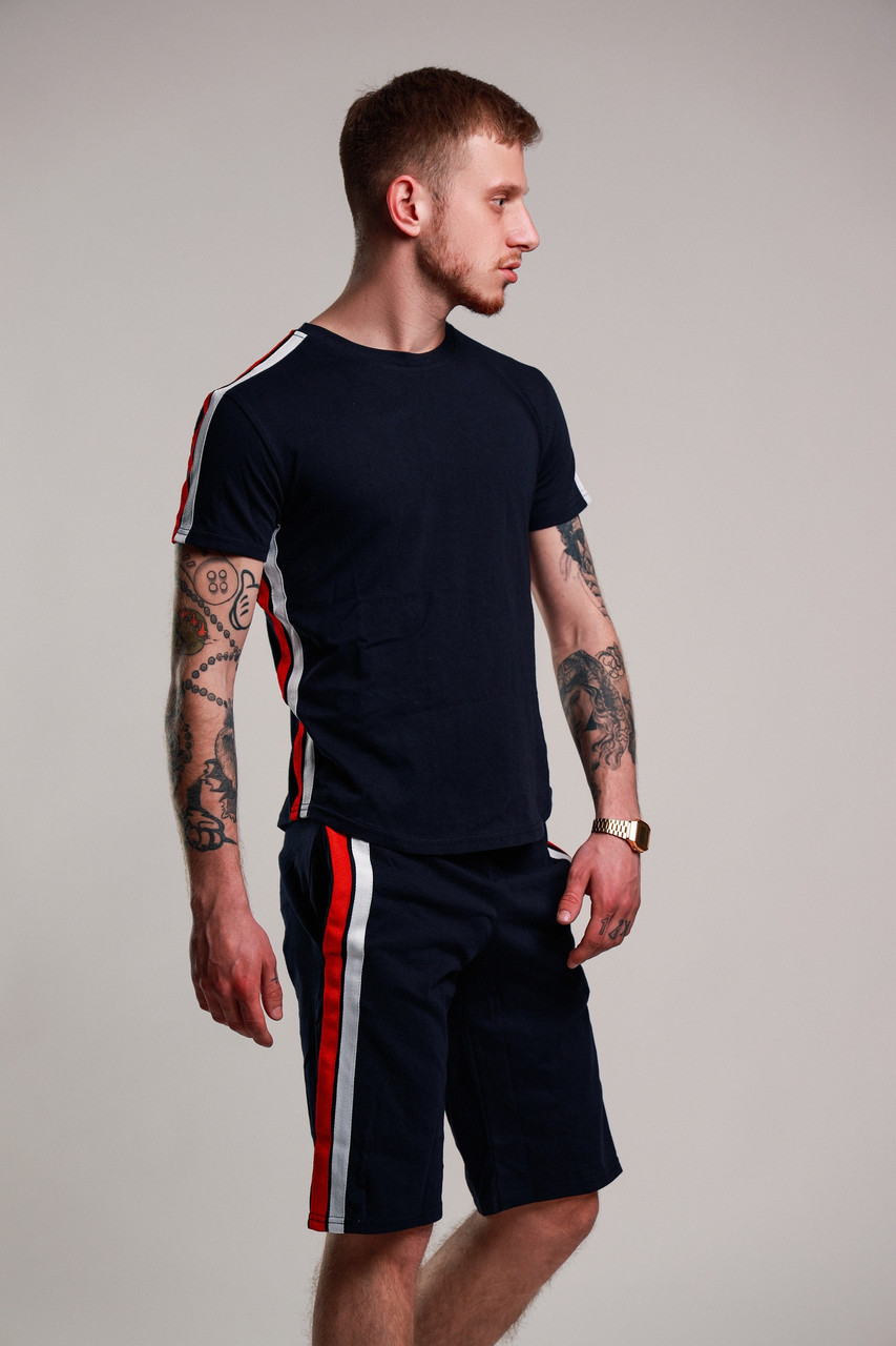 Футболка + шорты с лампасами мужская летняя стильная, цвет темно-синий, фото 1