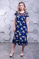 Плаття з гіпюром  (54-66) синий-роза