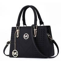 Большая женская сумка MK с брелком черная, фото 1