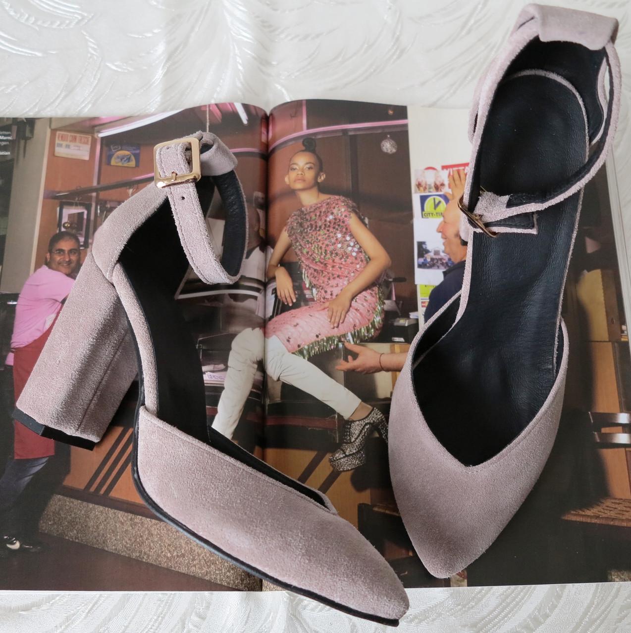 38 р. Туфли женские бежевые замшевые на каблуке с ремешком, из натуральной замши, натуральная замша