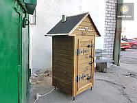 Коптильня 250л -холодного та гарячого копчення, +просушування. Вільха всередині, дах будиночком, фото 1