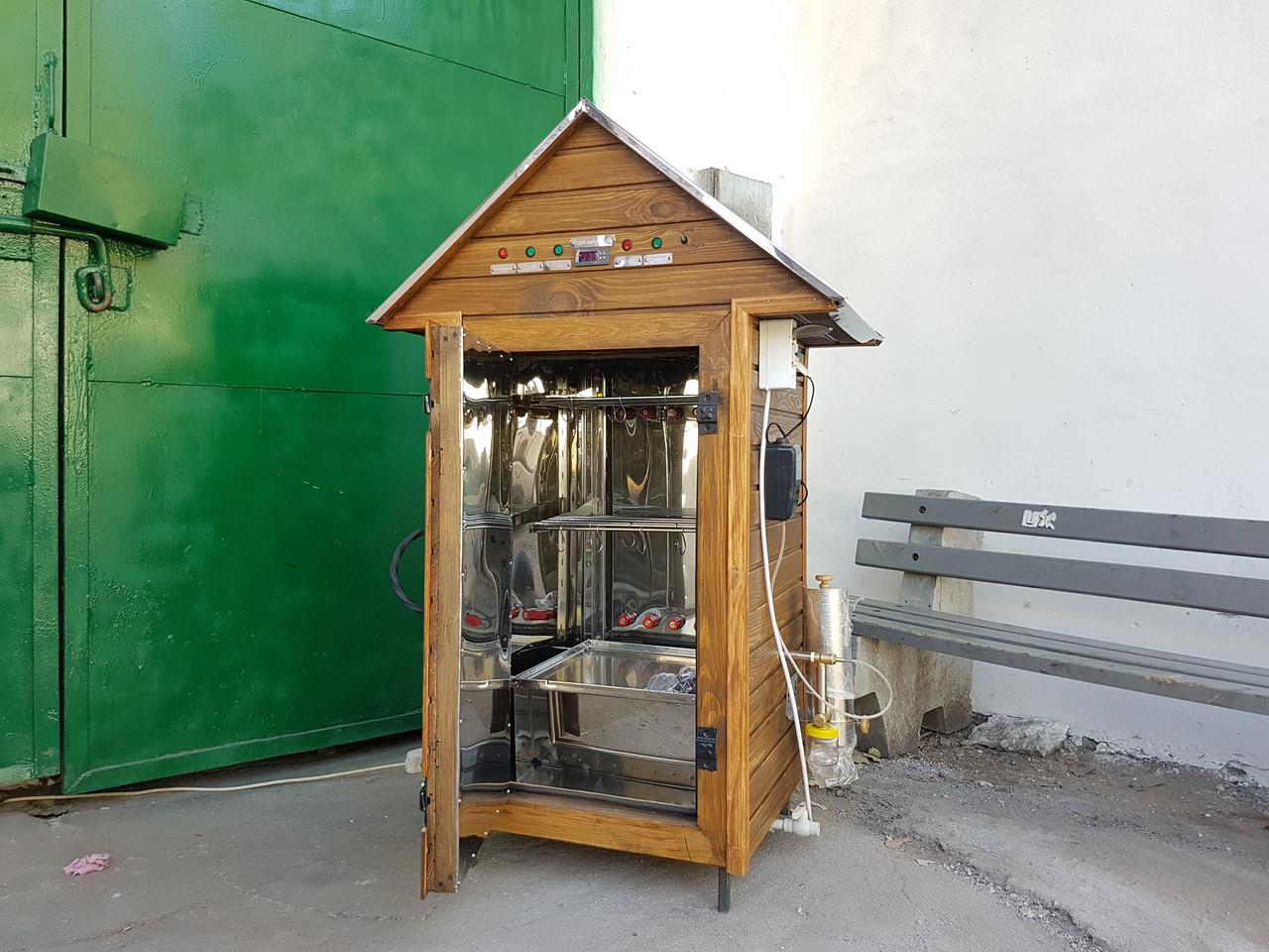 Коптильня 250 л -холодного и горячего копчения, +просушка. Нержавейка внутри, крыша домик