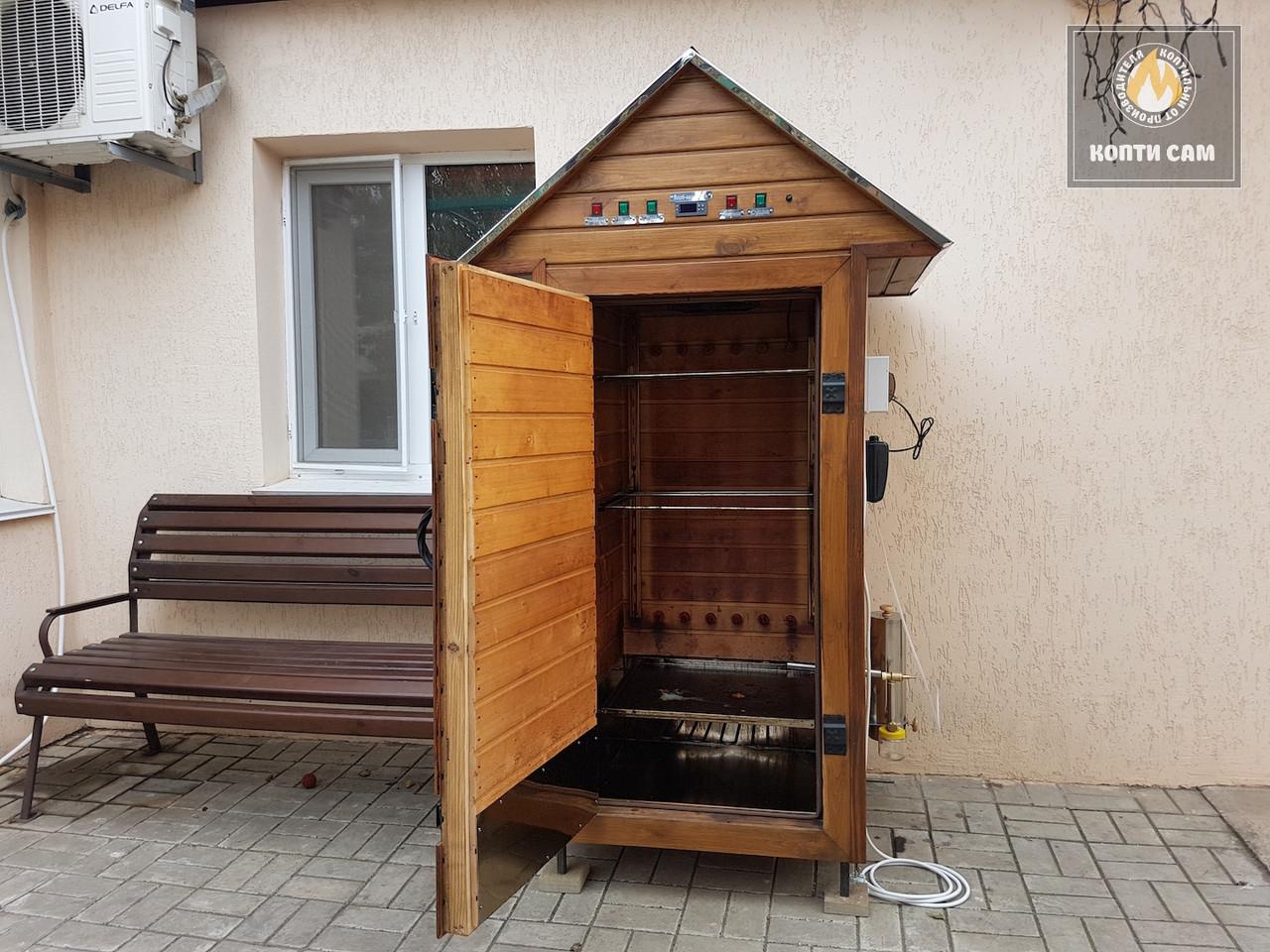 Коптильня 550л -холодного и горячего копчения, +просушка. Ольха внутри, крыша домиком