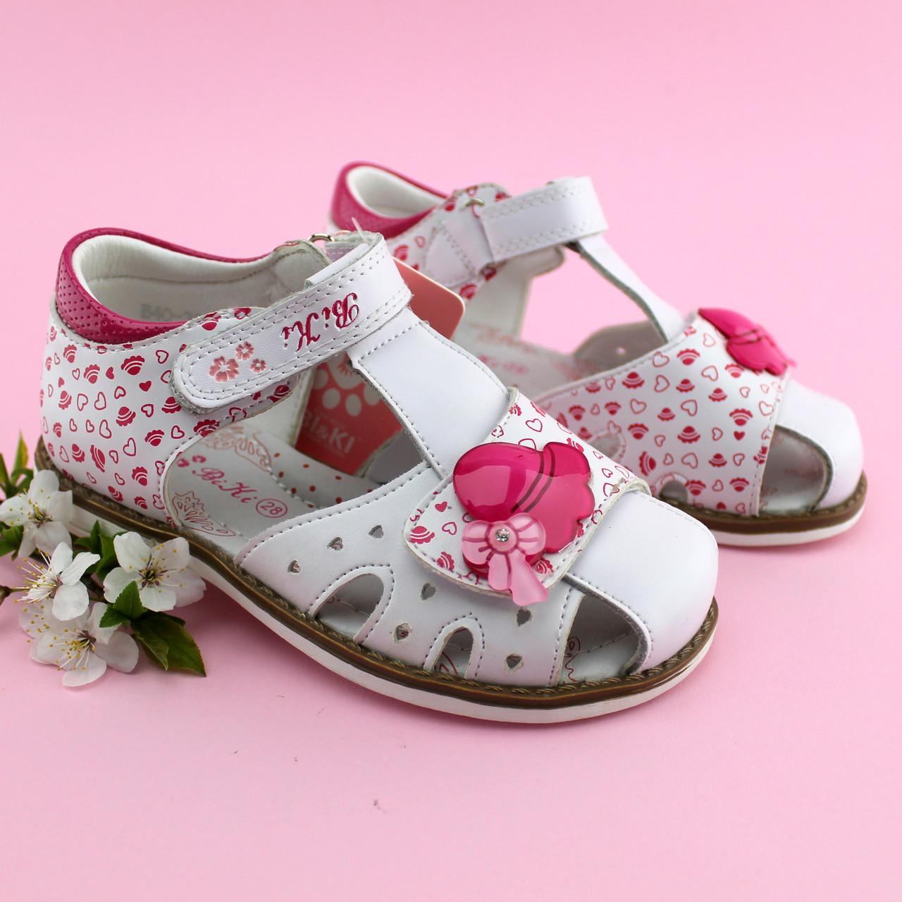 Босоножки на девочку нарядные Белые с розовым Bi&Ki размер 27
