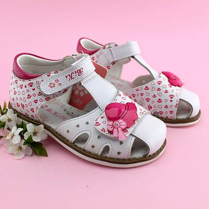 Босоножки на девочку нарядные Белые с розовым Bi&Ki размер 27, фото 2