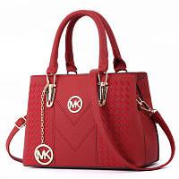 Большая женская сумка MK с брелком красная, фото 1