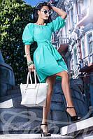 Женское летнее платье с открытыми плечами рукав до локтя короткое коттон стрейч, фото 1