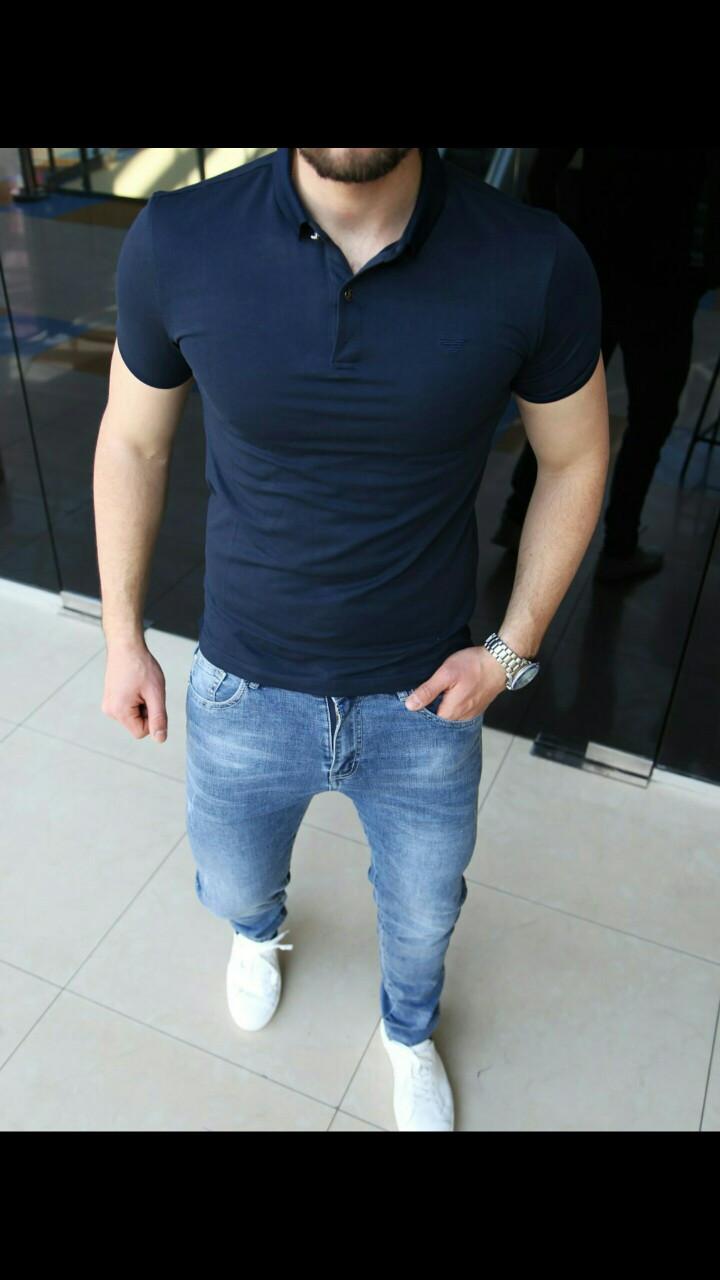 Мужские футболки с воротом Armani Модель весна-2019 Приталенный крой, приятный к телу материал. Размеры S-2XL