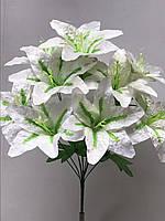 Белые лилии, не пресс, упаковка 10 шт., 1 расцветка, 10 голов, выс. 55 см., 55 грн./букет