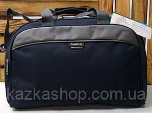 Усиленная дорожная сумка хорошего качества, среднего размера 47х26х23 см, плотный материал, ножки на дне сумки