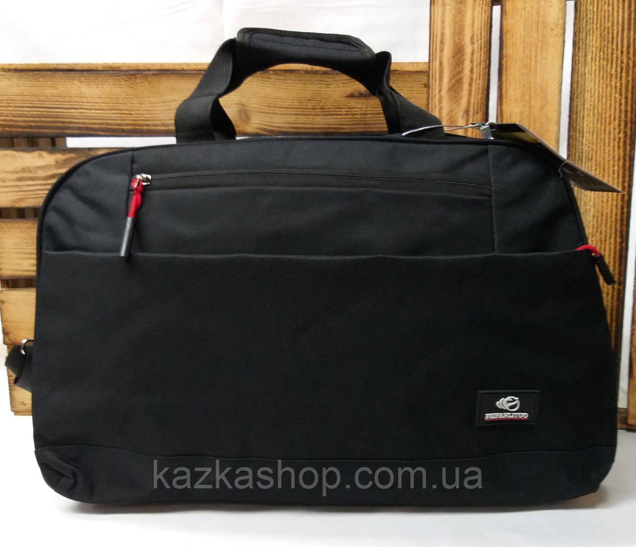 Дорожная сумка хорошего качества, среднего размера 46х28х20 см, плотный материал, ножки на дне сумки