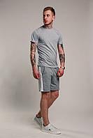 Футболка + шорти з лампасами чоловіча річна стильна, колір світло-сірий