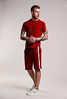 Футболка + шорти з лампасами чоловіча річна стильна, колір червоний, фото 1
